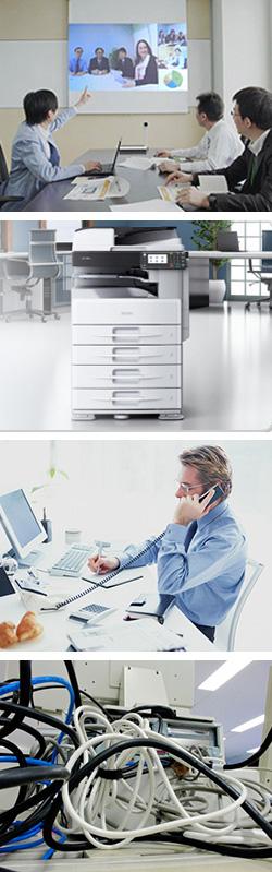 成和商事株式会社では、お客様と綿密に打ち合わせを行いながら机上に最適なOA機器の選択やITインフラ工事を実施していきます。